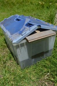 Jumbo fly trap near compost